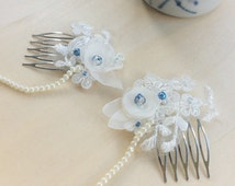 Something Blue Bridal Hair Chain, Double Hair Combs, Draping Head Chain, 1920s or Downton Abbey Wedding, wedding Hair Piece