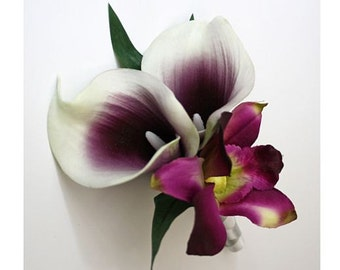 Corsage OR Boutonniere, purple/deep purple, orchids, Picasso lilies, dendrobium, Real Touch flowers, silk, prom/wedding
