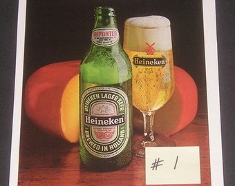 Heineken Beer, Buy More Save More, 1 - 5 Vintage 1980s Print Ads, Variety Choice, Breweriana Collectibles