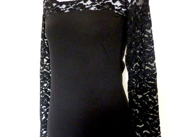 Lace Shirt Longshirt Tunic Womens Blouse Sweater ace black
