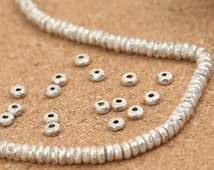 20 Karen Hill Tribe Silver Seed Beads, Higher Silver Content than Sterling Silver Seed Beads, Sterling Silver Round Spacer Beads 4mm -E147