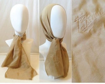 Vintage Ted Lapidus Beige Scarf // Vintage French Designer Scarf // Beige Silk Scarf // Classic and Chic