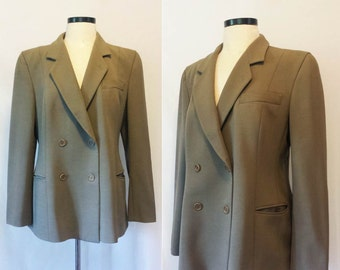 Womans Vintage Giorgio Armani Blazer // Olive Green Double Breasted Armani Jacket // Designer Blazer Made in Italy Size Large 44 US 14
