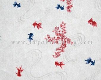 Goldfish in white cotton fabric 160x100cm