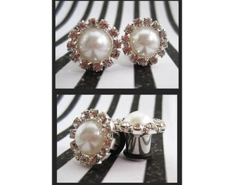 "Faux Pearl border of Rhinestones Stainless Steel Wedding EAR TUNNELS plug gauge sizes 1/2"", 9/16"", 5/8"", 11/16"" - 12mm, 14mm, 16mm, 18mm"