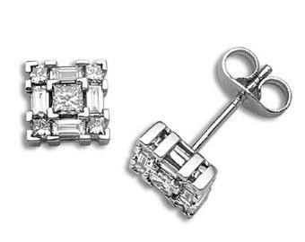 18ct White Gold Diamond Earrings  0.67ct