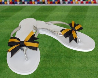 Black + Gold Bow Jelly Sandals