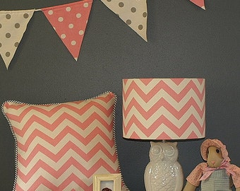 Australian Made Lampshade, Chevron Drum 26x18.5cm, Available in 5 Colours and 2 Fittings, Made to Order 1-2 weeks