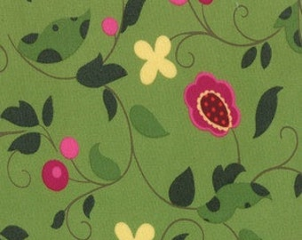 Floral Berries Green #32433 for Rooftop Garden by Moda Fabrics REMNANTS