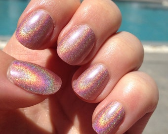 20x Hand Painted Holographic Petite False Nails - Coral Pink