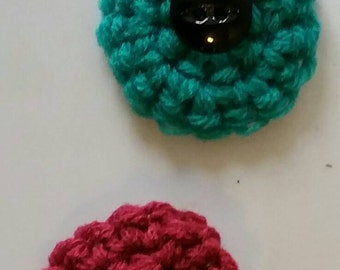 Handmade small crochet flower or bow button