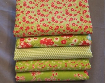 Little Ruby Half Yard Bundle of 5 in Green by Bonnie and Camille