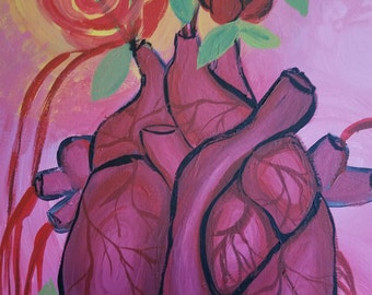 "Original painting ""Blooming heart"" acrylic on canvas"