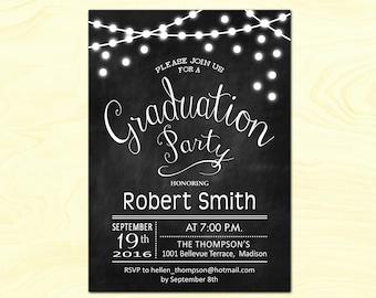 Graduation Party Invitation / Graduation Invites / Chalkboard / Fairy Lights / String Lights / Black White / Printable Digital Invite
