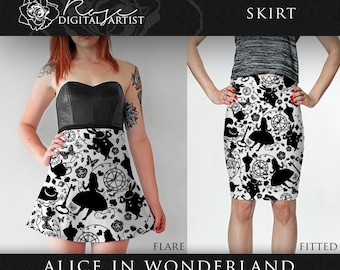 Alice in Wonderland - Skirt | Flare Skirt - Fitted Skirt