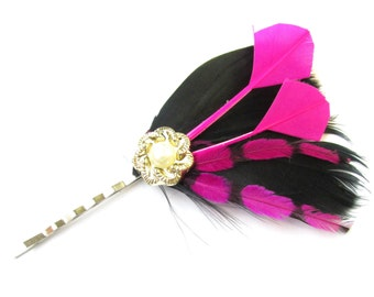 Black & Pink Feather Fascinator Hair Clip Pearl Races Vintage 1920s Flapper X-84