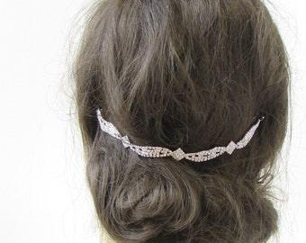 Silver Diamante Hair Vine Bridal Headpiece Clip Headband Wedding Rhinestone 389