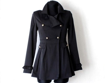 Women's Black Jacket Double Breasted Peacoat Military Style Brass Button Jacket Coat Extra Small XS Size