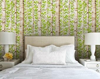 Custom Spring Birches Peel 'n Stick Wallpaper for Stair Riser