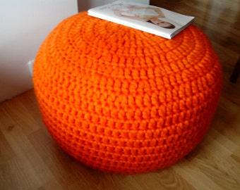 Crochet chunky merino wool 24'' Orange stuffed Pouf - Ottoman / Crochet wool  pouf / Knit footstool / Nursery pouf