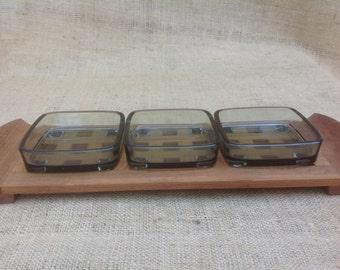Teak Trivet Condiment Tray Lattice-Work with Glass Inserts