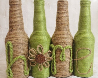 Green and Twine Wrapped Bottles Set of 4 Home Decor