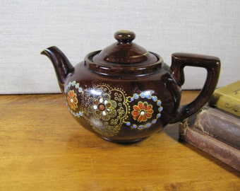 Small Brown Glazed Teapot - Hand Painted Floral Design - Made in Japan