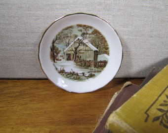 Currier and IVes - The Old Homestead in Winter - Tiny Plate