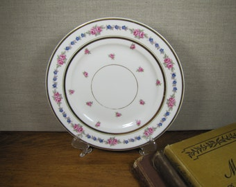 B & Co - L. Bernardaud and Co. - Dessert Plate - Pink and Blue Flowers - Limoges, France