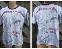 "Vintage METALLICA ""And Justice for All"" - METAL - T.Shirt  - All Over Print - Size L"