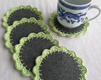 Crocheted on Felt, Green Coasters, Set of 5