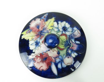 Moorcroft Pottery Lid Only - Replacement lid for jar/bowl, Iris Orchid on dark blue ground, c 1928-35
