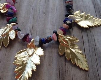 Multi-color Leaf Bib Necklace (handmade, gemstone, gold leaf)