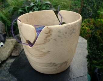 "Wooden Yarn Bowl- Hand Turned Sycamore Wood. 6.5"" inch diameter. #03"
