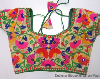 Readymade Embroidery Saree Blouse - Multicolor embroidry blouse - All Sizes - Ready-made - Sari Blouse - Saree Top - Sari Top - For Women
