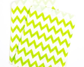 Lime Green Zig Zag Treat Bags
