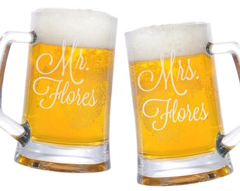 Mr. Mrs. Glass Beer Mugs - 25oz. / Personalized Mug / Engraved Glasses/ Etched / Wedding Beer Mugs/ Couple Gifts / Set of 2 / 48 DESIGNS