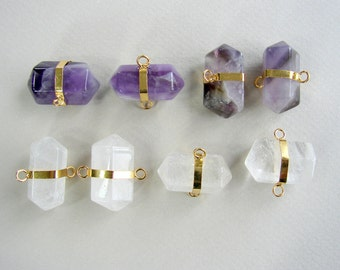 SALE. Natural Gemstone connector Bullet Amethyst, Crystal, with 14K Gold Plating Brass Findings,Size: 23x27x13mm, Hole 2mm (G-M2BB26-01-02)