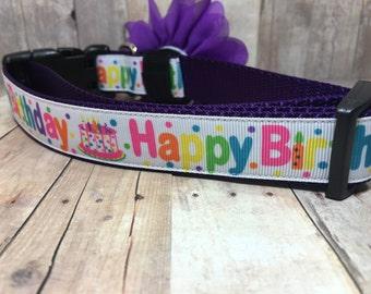 "The Birthday Pup  | Designer 1"" Width Dog Collar | CupcakePups Collars | Happy Birthday | Medium/Large Dog Collar"