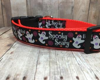 "The Ghost | 1"" Halloween Spooky Scary Ghost Dog Collar | Medium/Large Dog | CupcakePups | Handmade"