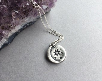 """Crescent Moon Pendant, Silver Moon Jewelry, Sterling Silver 16""""-18"""" Chain, Lunar Moon Charm Necklace, Modern Boho, Handmade Gifts for Women"""