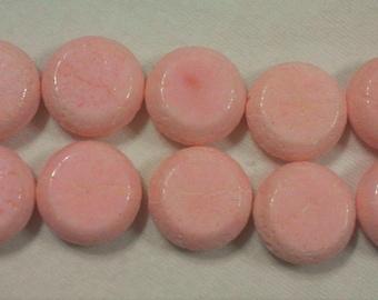Pink Coral Circle Beads