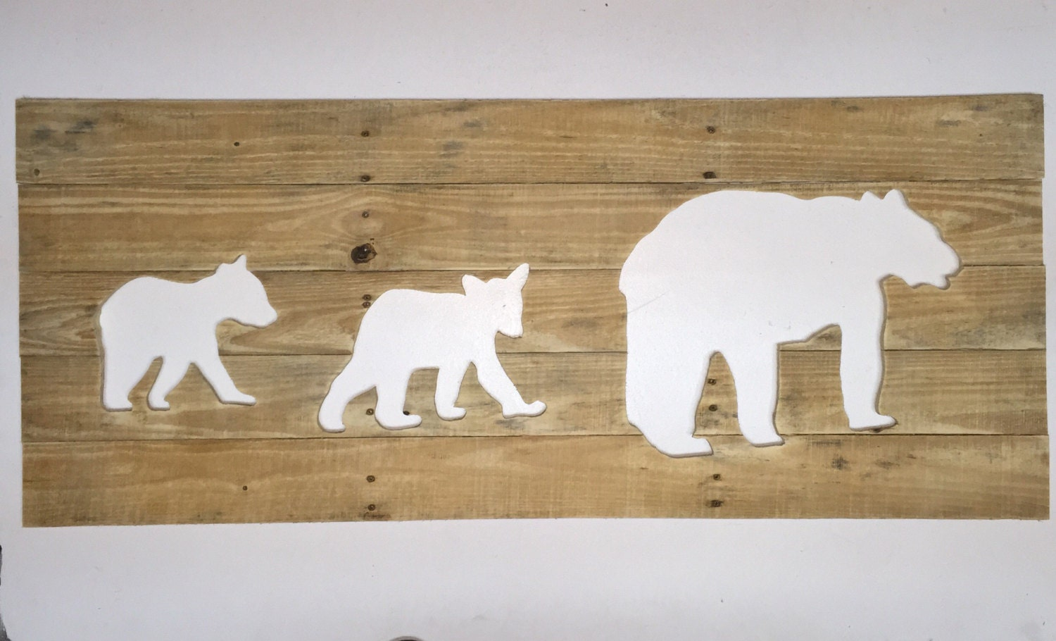 Rustic bear family reverse cutout wall art home decor cubs for Rustic bear home decor