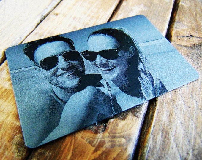 Anniversary Picture - Engraved Wallet Card - Personalized Back- Many Options - Custom  Actual Handwriting Option