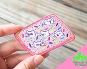 """Pop Cats Pop Tart 3"""" iron-on embroidered patch, pop tarts, sprinkles, cute cat patch, kawaii patch, cat embroidered patch, animal patch"""