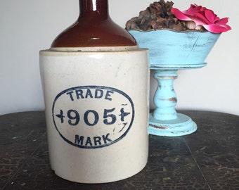 Antique Trade Mark 905 Jug / Stoneware Jug / Whiskey Jug / Antique Stoneware / Trade Mark 905 / Antique Whiskey Jug / Half Gallon Jug