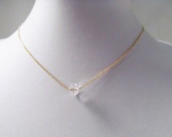 crystal bead necklace single crystal necklace minimalist jewelry