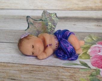 Fairy Baby Girl. Polymer Clay Fairy, Baby Shower, CakeTopper, Collectible, Faery, Magic, OOAK, Tiny Fairy, Sculpture, Handmade, Fairy Dust