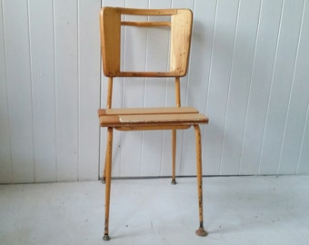 Gorgeous up cycled retro chair/ salvaged wood seat /metal legs/ lots of patina/ talking point/ pick up only