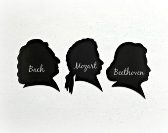 Musical Composers Die Cuts, Classical Musical Composer Silhouettes, Bach Die Cuts, Mozart Die Cuts, Beethoven Die Cuts